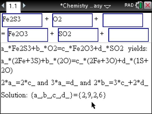 Balancing a chemical equation using the tinspire cas cx and the balancing a chemical equation using the tinspire cas cx and the chemistry made easy app step by step step by step tinspire apps blog urtaz Image collections