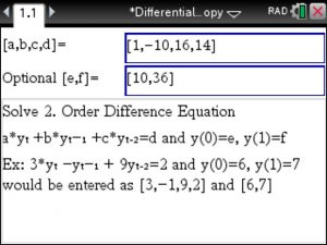▷Difference Equations – Step by Step – using the TiNSpire