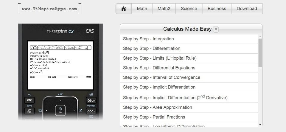 www.TiNspireApps.com – Stepwise Math & Science Solutions